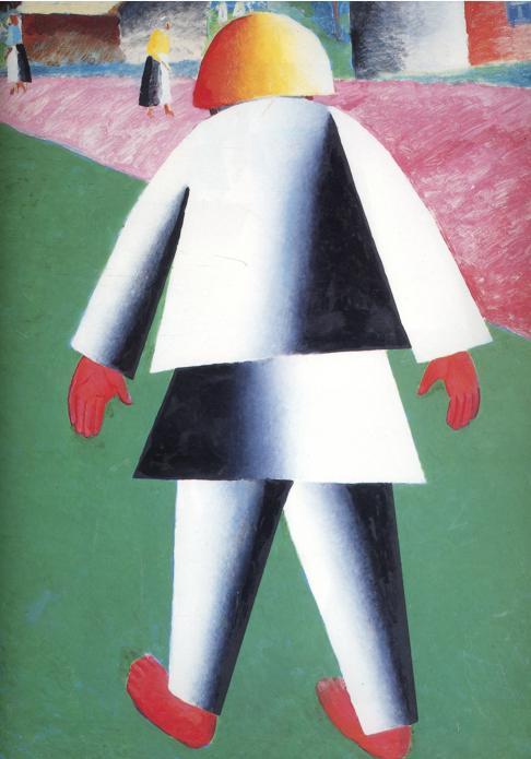 马列维奇抽象画作品-男孩 , 油 通过 Kasimir Malevich Kazimir