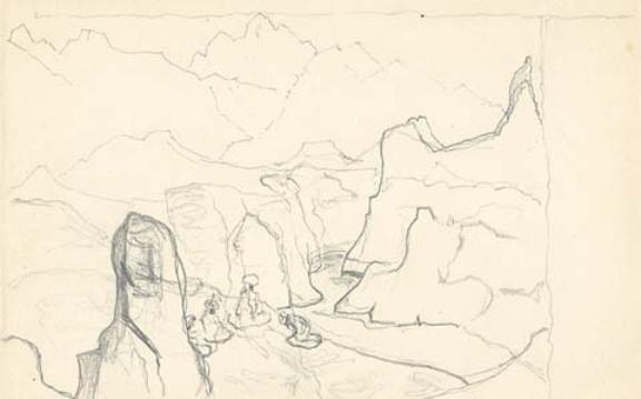rich 四个数字山地景观素描 绘图,