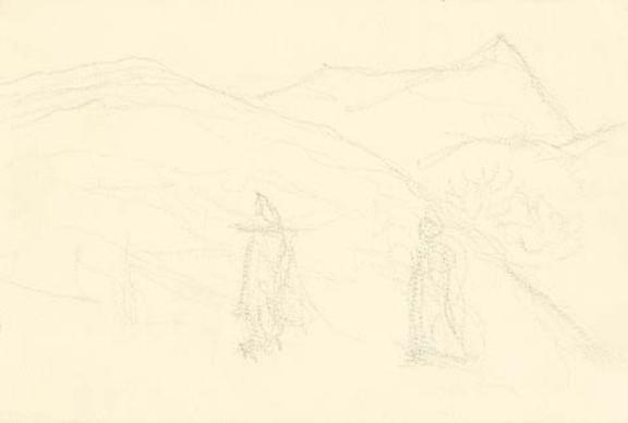 rich 两个数字山地景观素描 绘图,