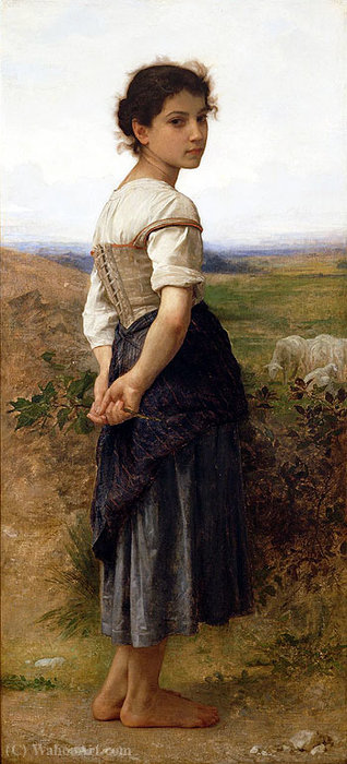 青年牧羊女, 油 通过 William Adolphe Bouguereau (1825-1905, France)