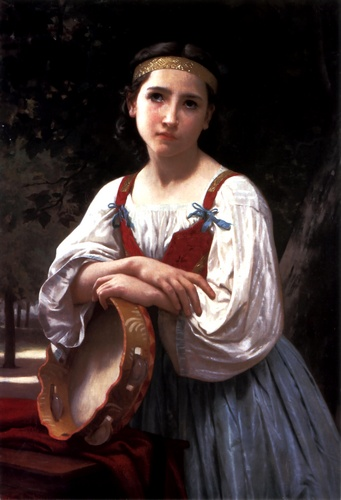 Bohemienne巴斯克鼓, 油 通过 William Adolphe Bouguereau (1825-1905, France)