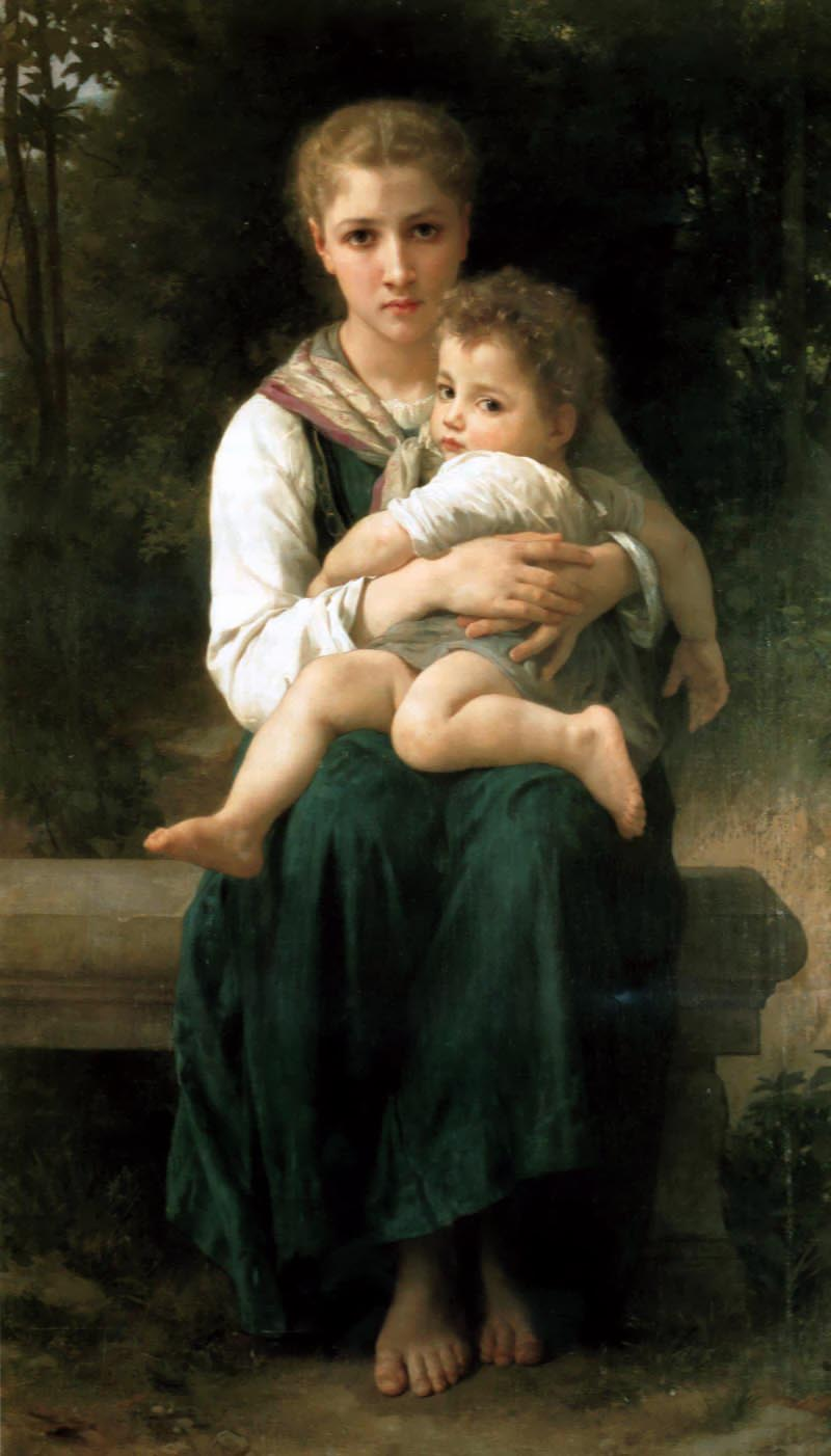 哥哥和妹妹, 油 通过 William Adolphe Bouguereau (1825-1905, France)