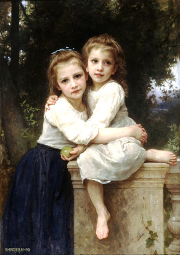 两姐妹, 油 通过 William Adolphe Bouguereau (1825-1905, France)