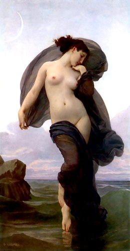 晚上心情, 油 通过 William Adolphe Bouguereau (1825-1905, France)