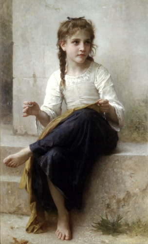 裁缝, 油 通过 William Adolphe Bouguereau (1825-1905, France)