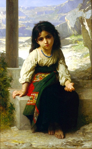 小乞丐, 油 通过 William Adolphe Bouguereau (1825-1905, France)