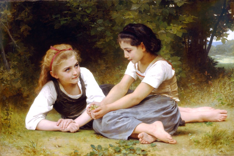 榛子, 油 通过 William Adolphe Bouguereau (1825-1905, France)