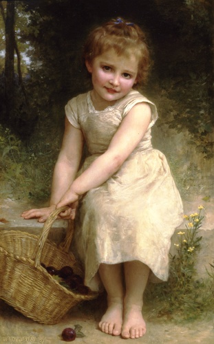 李子, 油 通过 William Adolphe Bouguereau (1825-1905, France)