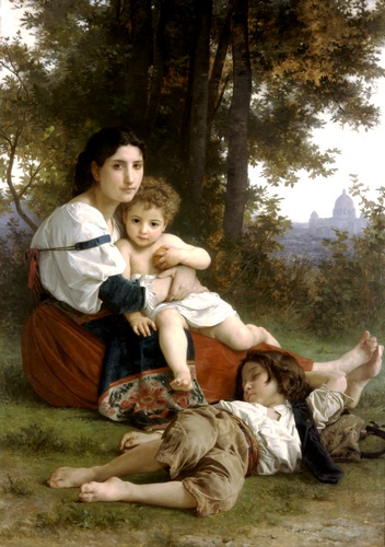 """休息, 油 通过 William Adolphe Bouguereau (1825-1905, France)"