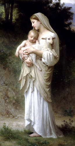 Linnocence, 油 通过 William Adolphe Bouguereau (1825-1905, France)