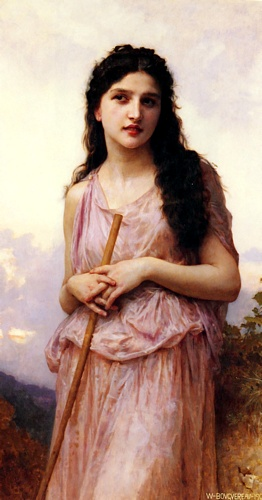 冥想, 油 通过 William Adolphe Bouguereau (1825-1905, France)