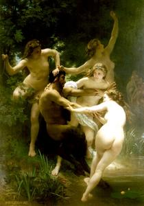 William Adolphe Bouguereau - Nymphes等satyre