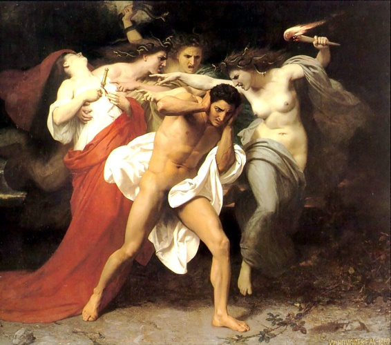 俄瑞斯忒斯被复仇女神所追求, 油 通过 William Adolphe Bouguereau (1825-1905, France)