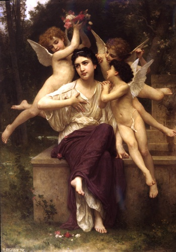 春之梦, 油 通过 William Adolphe Bouguereau (1825-1905, France)