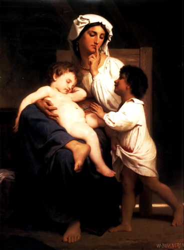 睡眠, 油 通过 William Adolphe Bouguereau (1825-1905, France)