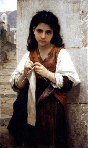 编织1879, 油 通过 William Adolphe Bouguereau (1825-1905, France)