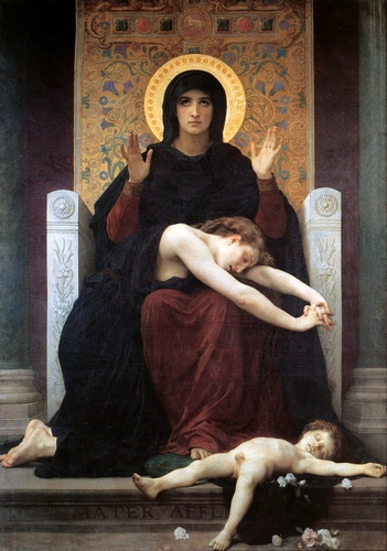 处女的安慰, 油 通过 William Adolphe Bouguereau (1825-1905, France)