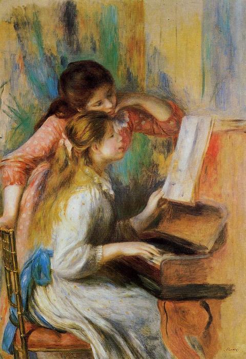 女孩在钢琴, 油画 通过 Pierre Auguste Renoir 1841 1919, France
