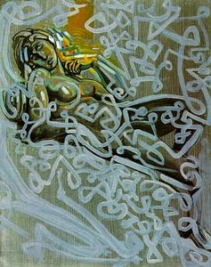 Salvador Dali - 图后 Michelangelo's 'Dawn'  上  墓 洛伦佐 迪 奇 , 1982