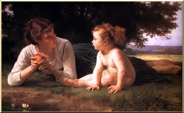 诱惑, 油 通过 William Adolphe Bouguereau (1825-1905, France)
