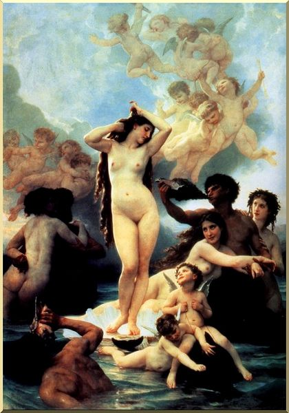 维纳斯的诞生, 油 通过 William Adolphe Bouguereau (1825-1905, France)