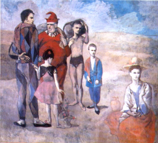 Saltimbanques (  的 家庭 的 Saltimbanques ), 油 通过 Pablo Picasso (1881-1973, Spain)
