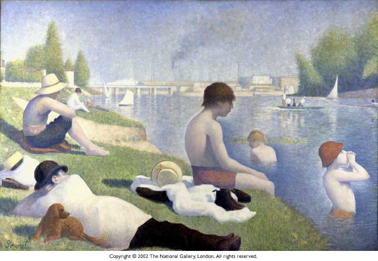 Bañistas 恩 阿涅尔 , 1889, 油 通过 Georges Pierre Seurat (1859-1891, France)