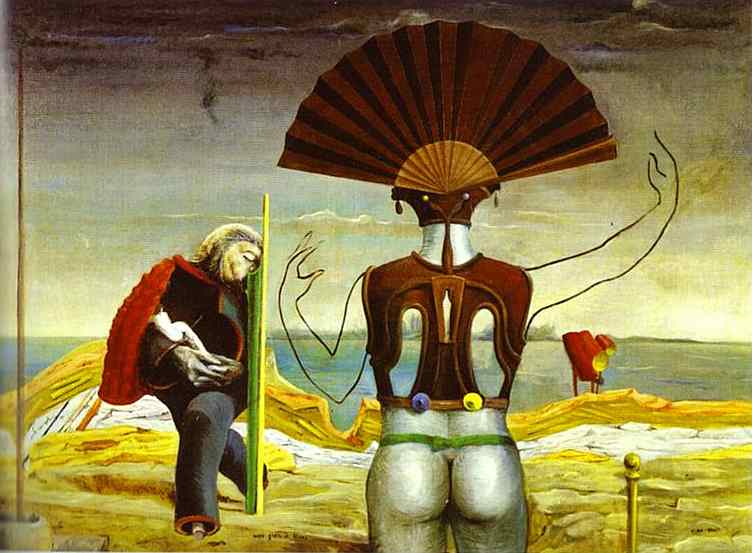 女性, 老的人  和  花, 油 通过 Max Ernst (1891-1976, Germany)