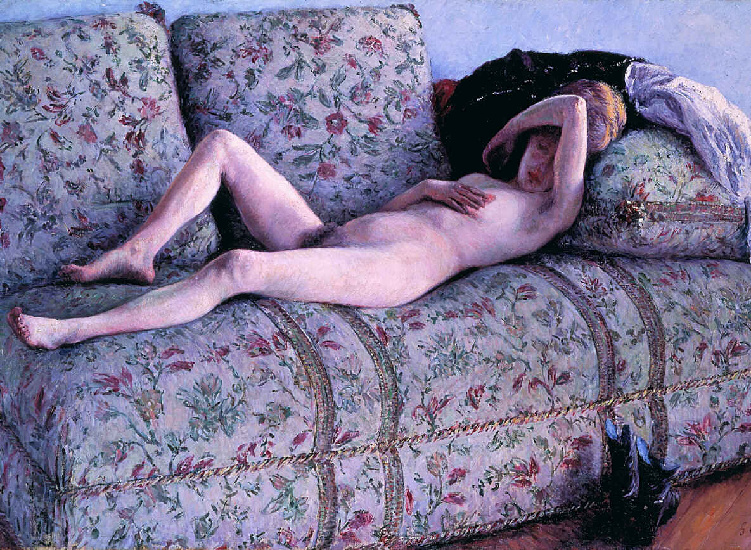 NUD coucs, 油 通过 Gustave Caillebotte (1848-1894, France)