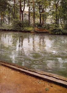 Gustave Caillebotte - 该Yerres,雨又名溪岸在雨中