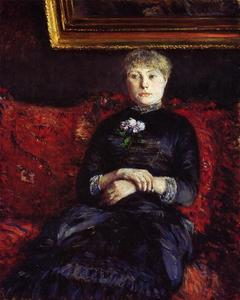 Gustave Caillebotte - 女性  坐在 上 Red-Flowered 沙发 02