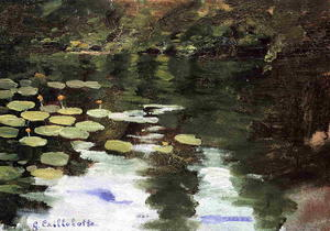 Gustave Caillebotte - yerres` ,  上  池塘,  睡莲