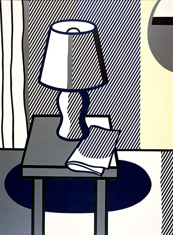 静物 与   表  灯 , 油 通过 Roy Lichtenstein (1923-1997, United States)