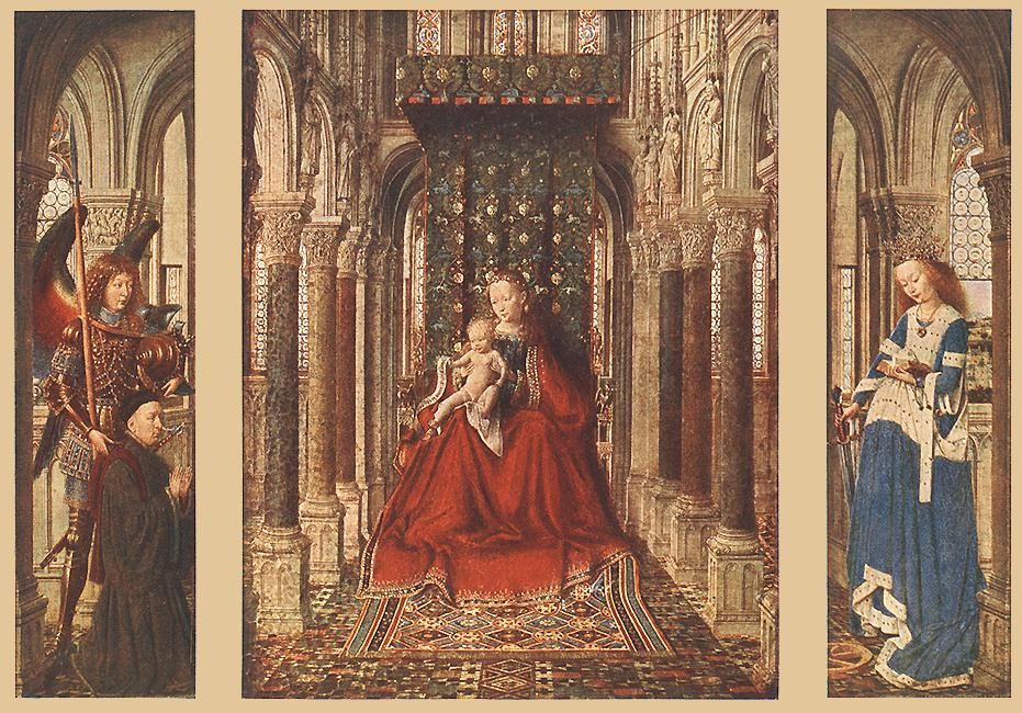 小 Triptych1  , 油 通过 Jan Van Eyck (1395-1441, Netherlands)