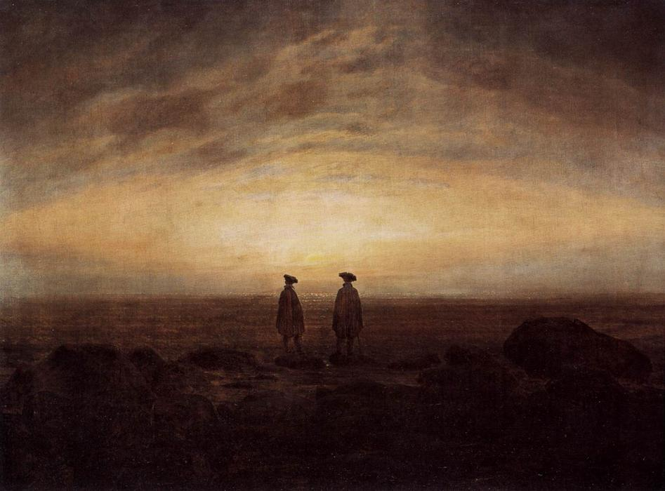 两 男人  由 海, 1817 通过 Caspar David Friedrich (1774-1840, Germany) | 幀畫冊專輯 | WahooArt.com