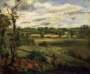 John Constable - 查看海格特的靠近Hampstead Heath公园
