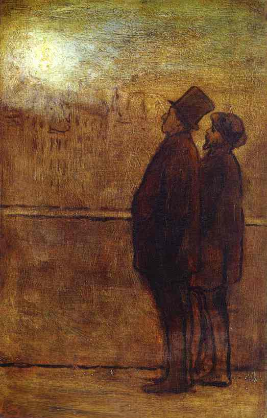 夜间游客 通过 Honoré Daumier (1808-1879, France) | 傑作拷貝 | WahooArt.com