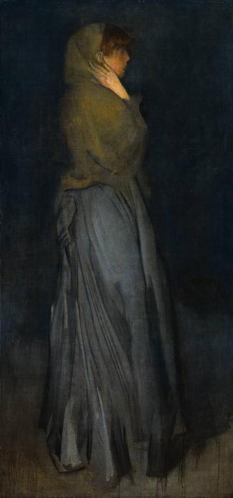 排列黄与灰,艾菲院长, 油 通过 James Abbott Mcneill Whistler (1834-1903, United States)