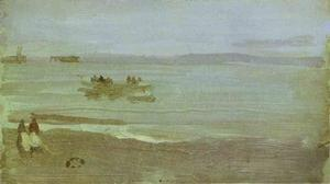 James Abbott Mcneill Whistler - 灰色 和  银  雾  -   救生艇