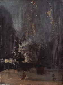 James Abbott Mcneill Whistler - 夜曲黑色和金色,落下的火箭