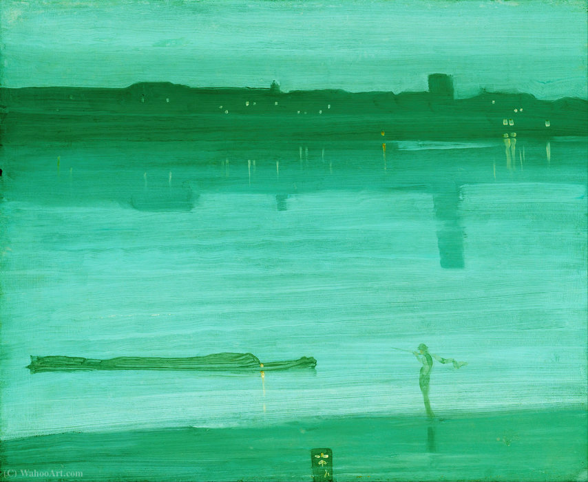 夜曲蓝色和绿色,切尔西 通过 James Abbott Mcneill Whistler (1834-1903, United States) | 幀畫冊專輯 | WahooArt.com
