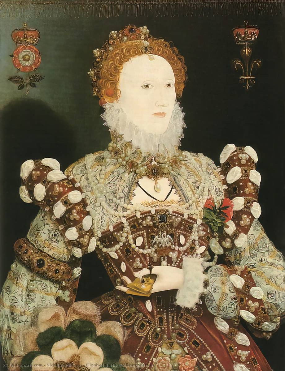 Elizabeth 一世 , 鹈鹕 肖像, 油 通过 Nicholas Hilliard (1577-1619, United Kingdom)
