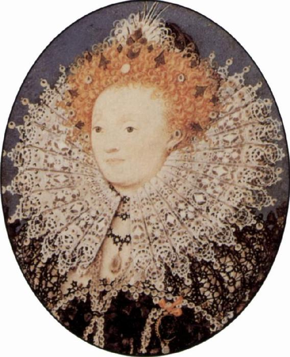 伊丽莎白一世, 油 通过 Nicholas Hilliard (1577-1619, United Kingdom)