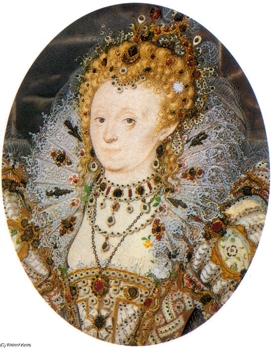 伊丽莎白IV3 通过 Nicholas Hilliard (1577-1619, United Kingdom) | WahooArt.com