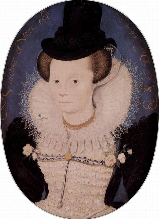 肖像  一个  未知 女性, 油 通过 Nicholas Hilliard (1577-1619, United Kingdom)