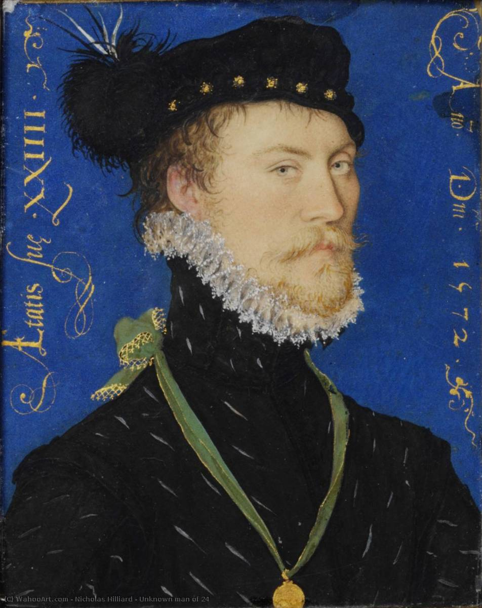 未知  男子 的  24  , 油 通过 Nicholas Hilliard (1577-1619, United Kingdom)