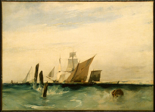 顺序 傑作拷貝 : Seapiece , 关闭 法国 滨 通过 Richard Parkes Bonington (1802-1828, United Kingdom) | WahooArt.com