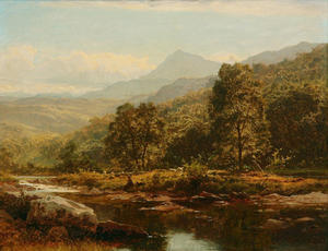 Benjamin Williams Leader - 一个岛屿ON THE LLUGWY,CAPEL CURIG,具有ANGLER
