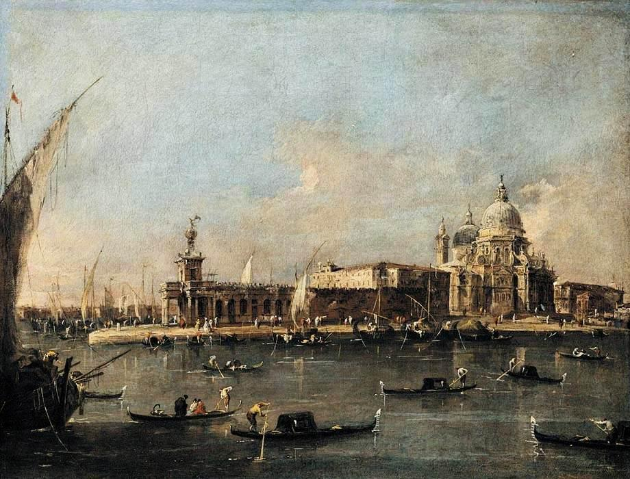 蓬迪Dogana的, 油 通过 Francesco Lazzaro Guardi (1712-1793, Italy)