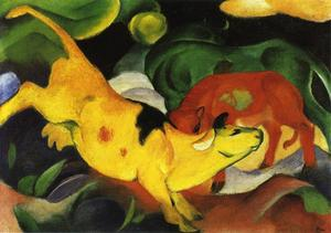 Franz Marc - 奶牛 , Yellow-Red-Green